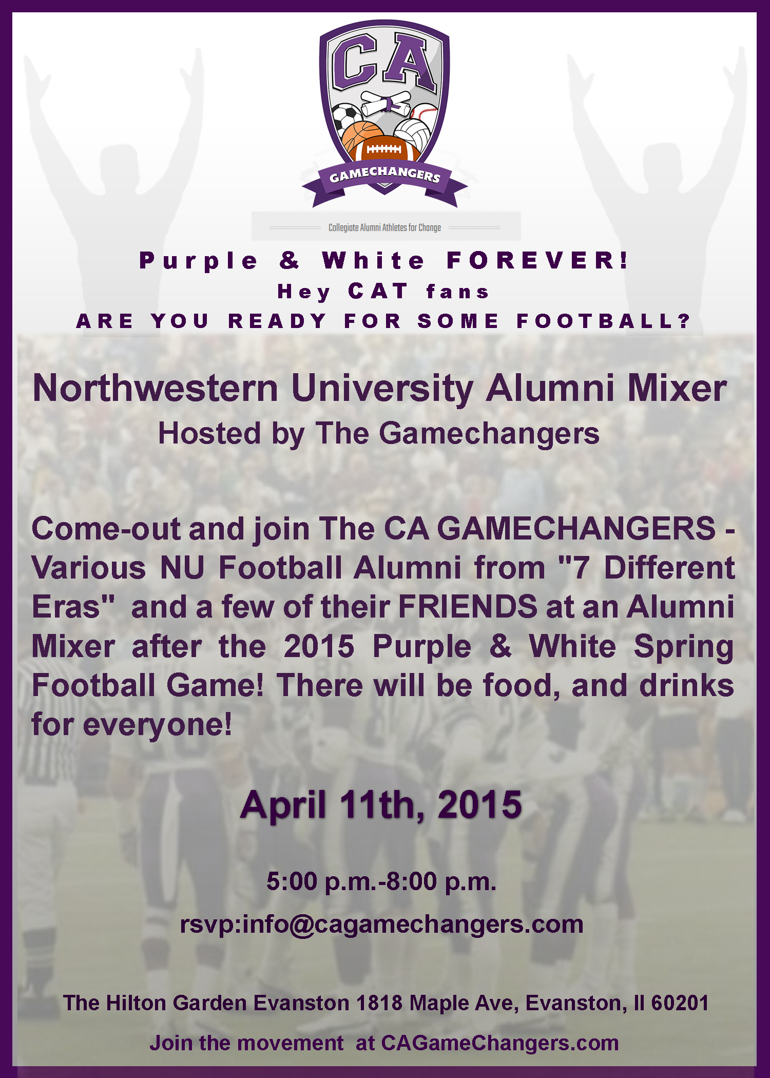 APRIL 11 2015  Spring Game Alumni Mixer HOSTED by The GAMECHANGERS : APRIL 11 2015  Spring Game Alumni Mixer HOSTED by The GAMECHANGERS